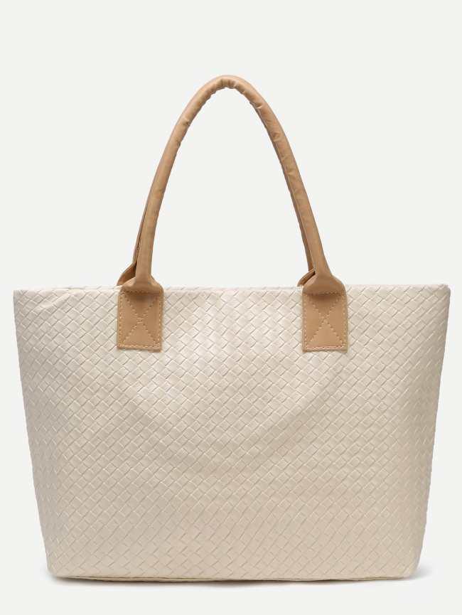 SheIn Beige Woven PU Tote Bag