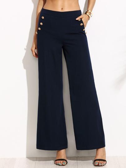Pantalones de pernera ancha - azul marino