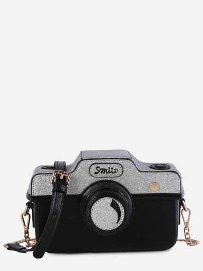 Bolso de cuero sintético en forma de cámara