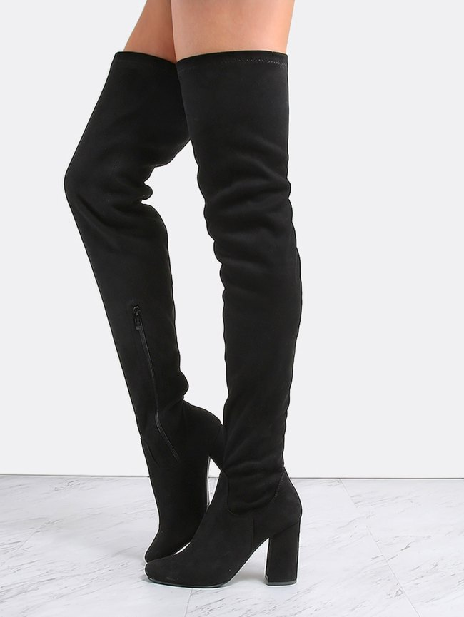 SheIn Square Toe Suede Thigh Boots BLACK