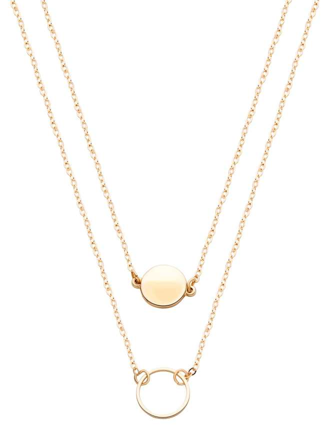 SheIn Gold Double Layer Geometric Round Necklace