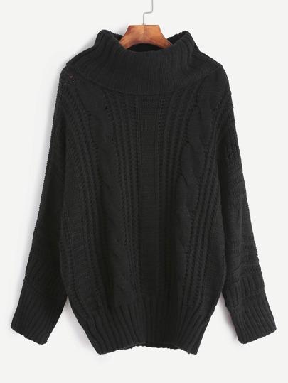 Pull tricoté en câble col roulé - noir