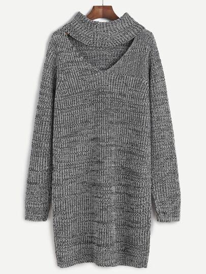 Robe pull col roulé découpé - gris