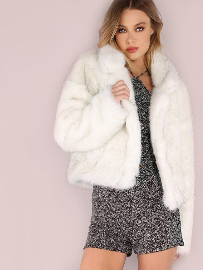 SheIn White Stand Collar Open Front Faux Fur Coat