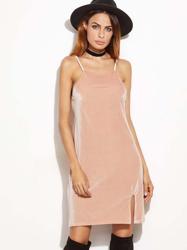 SheIn Pink Square Neck Slit Front Cami Dress