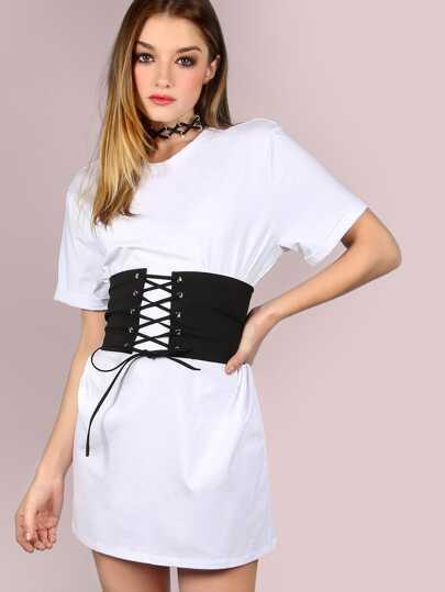 Vestido camisero con corsé - blanco