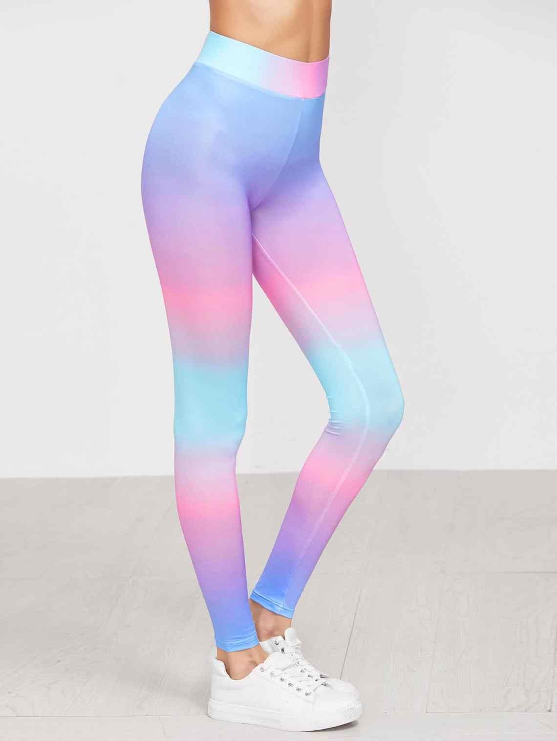 Multicolor Pastel Ombre High Waist Leggings