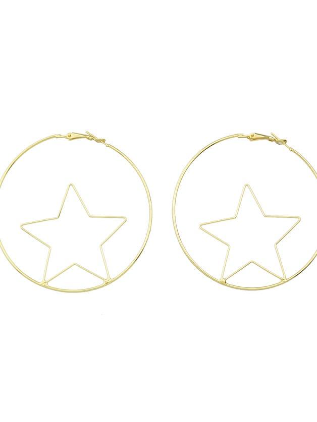 SheIn Fashion Gold Color Star Shape Big Hoop Earrings