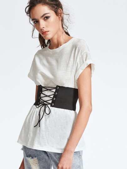 Camiseta de hombro caído con cinturón ancho con cordones - blanco