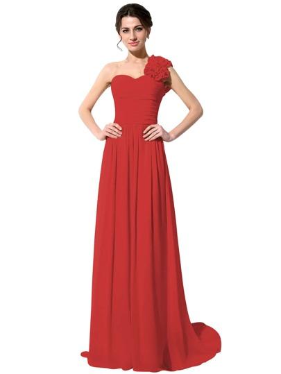 Vestido de dama de honor largo un hombro ribete con flor de chifón - rojo