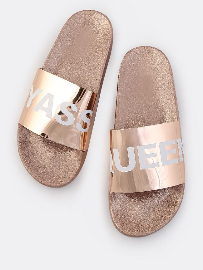 SheIn YASS QUEEN Metallic Sandals ROSE GOLD