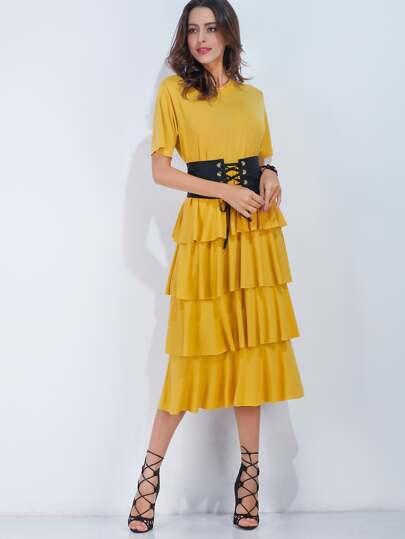 Vestido con volantes con corsé - amarillo