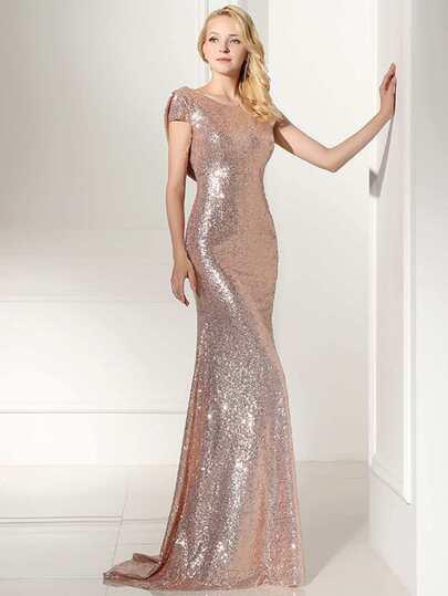 Vestido de dama de honor espalda abierta con lentejuelas - rosa dorado