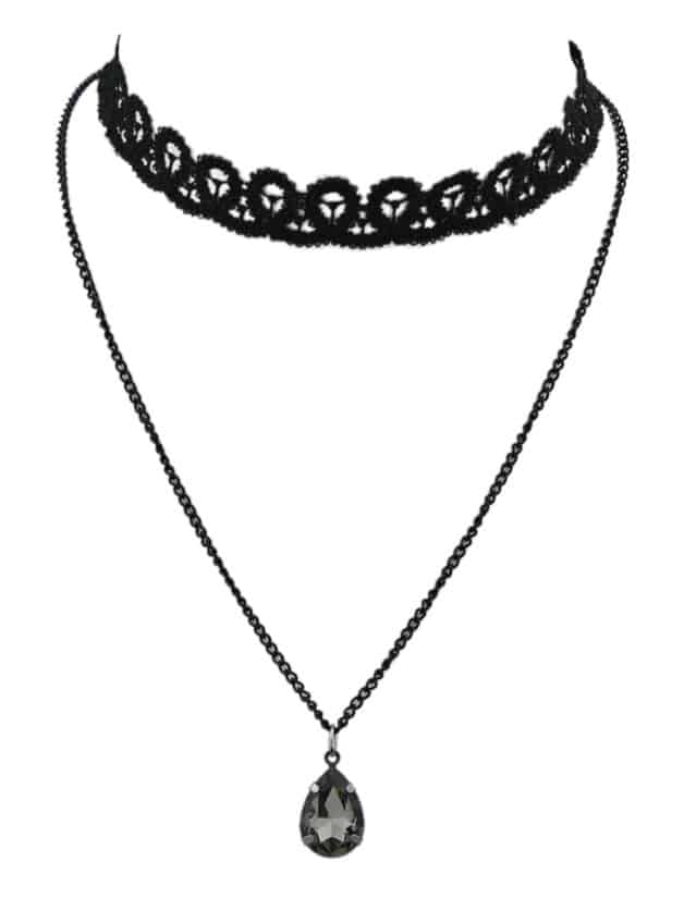 SheIn Black Chain Lace Choker Necklace
