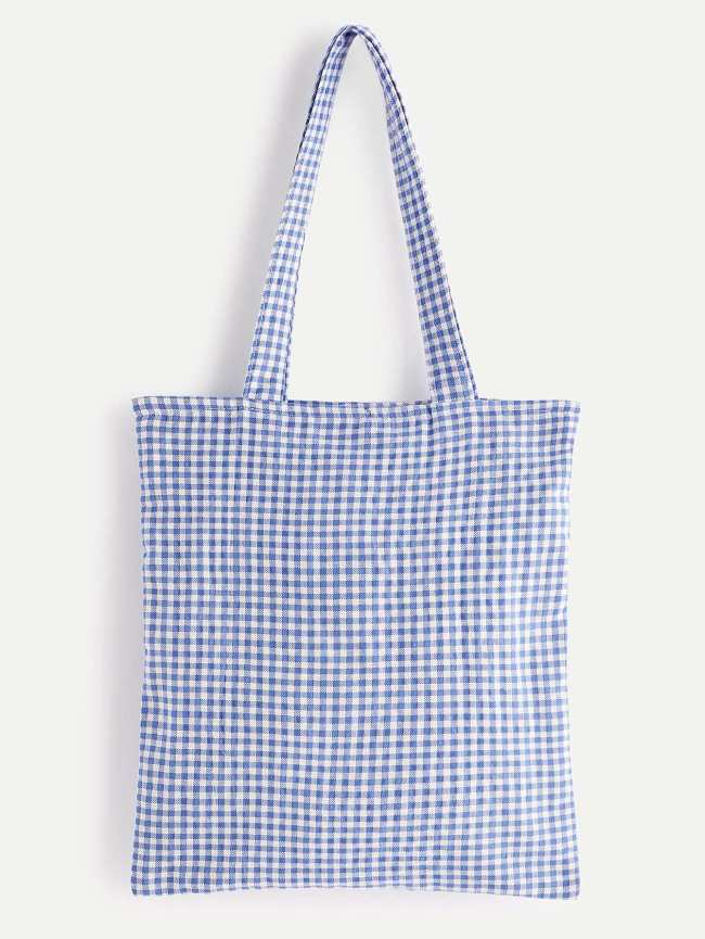 SheIn Gingham Linen Tote Bag
