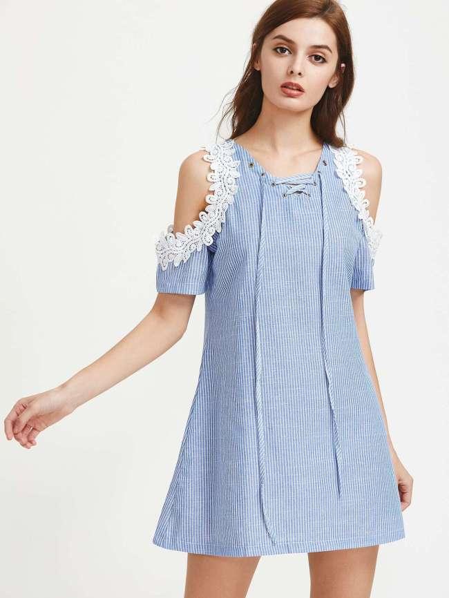Vestido verano 2017 tendencias rayas hombros bordado cordones mini shein