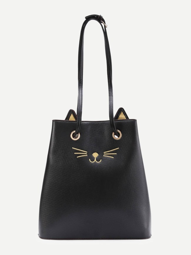 SheIn Cat Pattern PU Tote Bag With Cute Ear