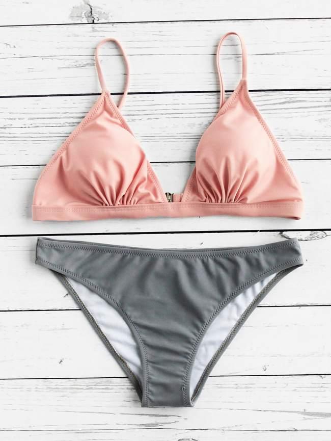 SheIn Two Tone Triangle Bikini Set