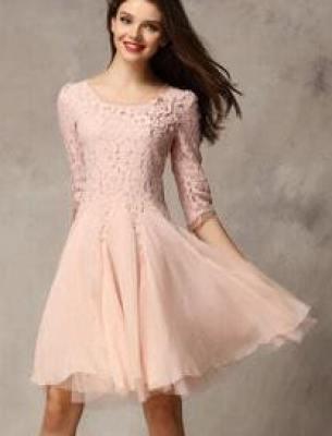 Pink Coctel Half Sleeve Lace Bead Chiffon Babydoll Dress