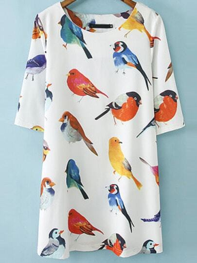 White Half Sleeve Birds Print Loose Dress pictures