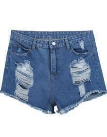Blue Fringe Ripped Pockets Denim Shorts