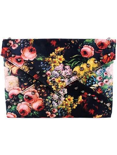 Black Rivet Floral Clutch Bag pictures