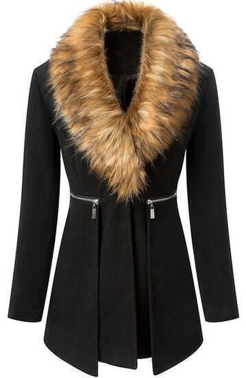 Black Fur Collar Long Sleeve Zipper Woolen Coat pictures
