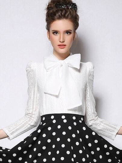 White Long Sleeve Bow Embellished Blouse pictures