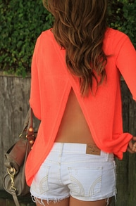 Orange Round Neck Open Back Blouse
