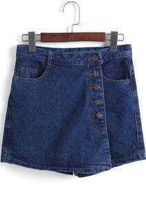 Navy Pockets Buttons Denim Skirt
