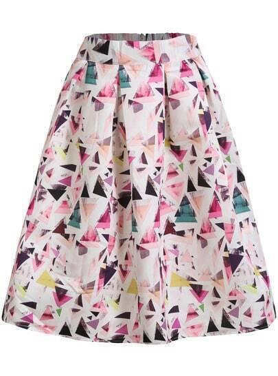 Multicolor Geometric Print Flare Midi Skirt pictures