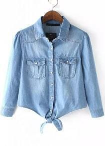 Blue Lapel Knotted Pockets Denim Blouse