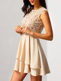 With Zipper Lace Insert Flare Pink Dress