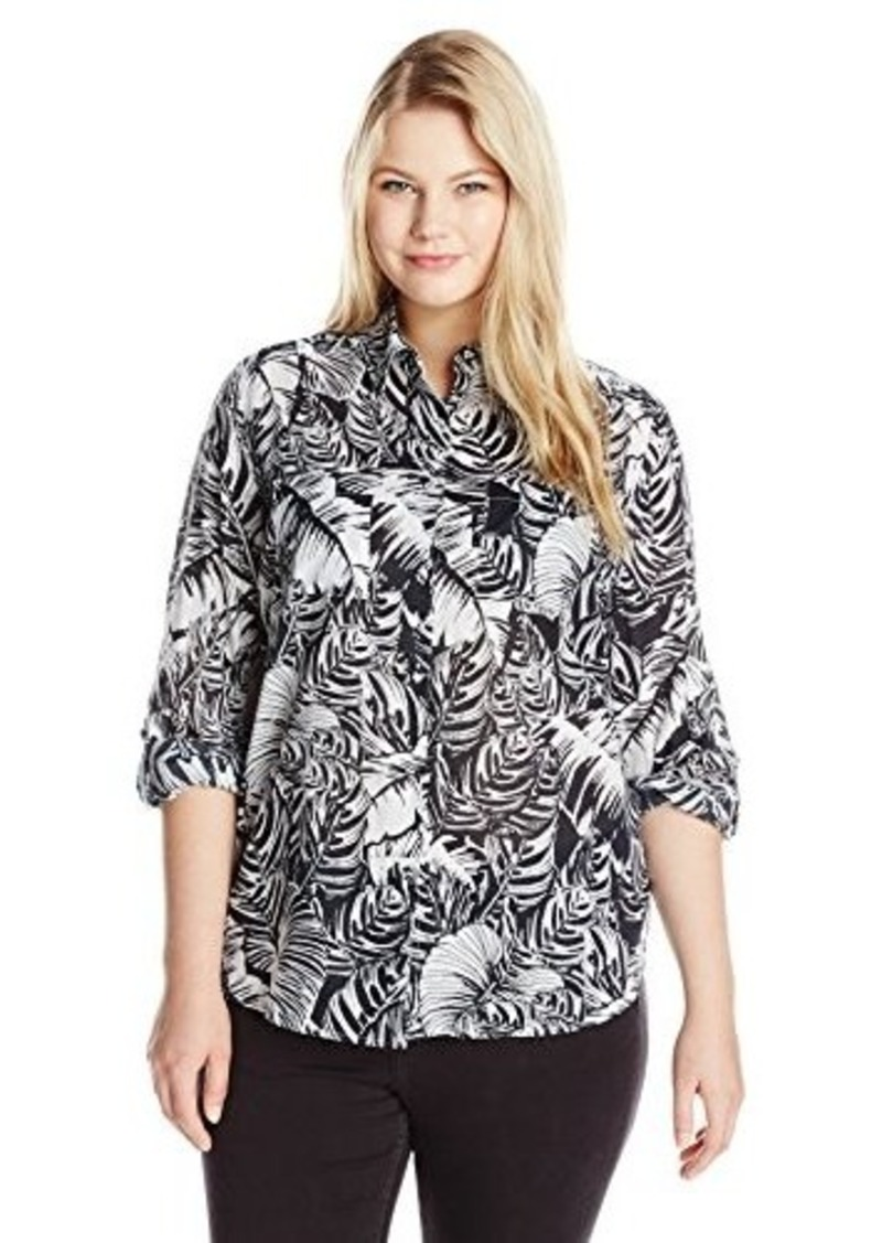 foxcroft foxcroft womens plus size palm print blouse abv1a189475 zoom Wrinkle Free Blouses