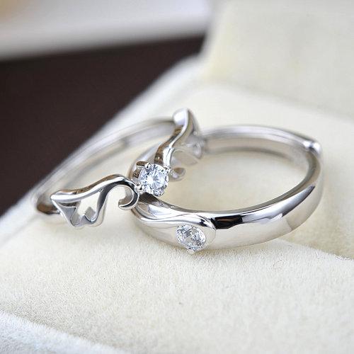 天使羽翼情侶S925純銀戒指
