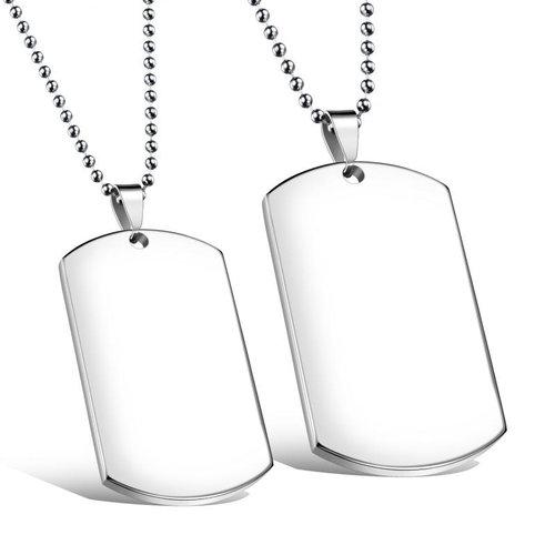 空白軍牌鈦鋼情侶項鍊