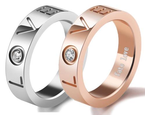 LOVE不鏽鋼鑲鑽情侶戒指