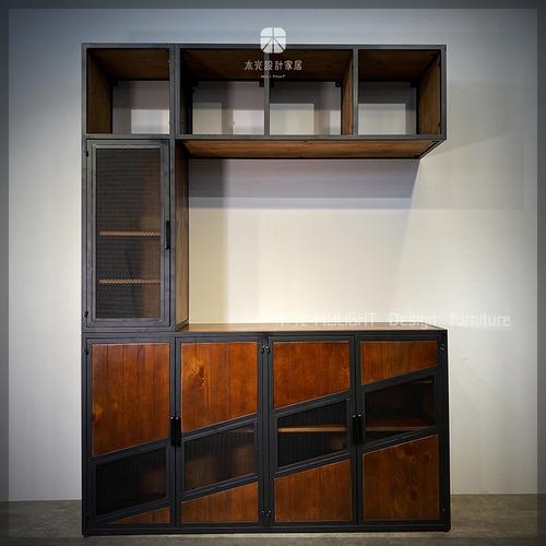 美式粗曠實木鐵網多功能餐櫃(可訂製)