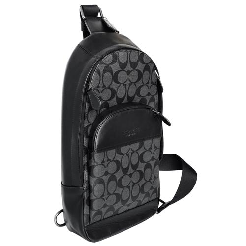 COACH灰黑C Logo拼接真皮單肩斜後背胸包/男包 2020年最推薦的品牌都在friDay購物