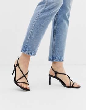 Bershka strappy skinny sandals in black