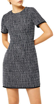 Warehouse Bridget Tweed Dress, Blue Pattern