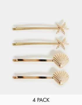 Asos Design ASOS DESIGN pack of 4 hair clips with shell and starfish design in gold