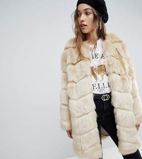 ASOS Jakke longline paneled jacket in faux fur