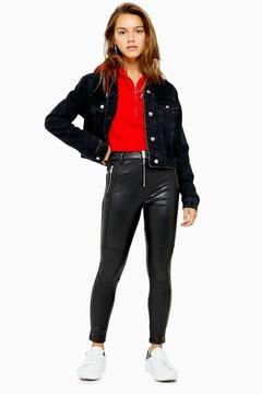 Topshop Womens Petite Biker Faux Leather Pu Trousers – Black