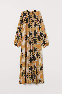Satin 60s Print Full Length Dress