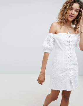 ASOS DESIGN Lace Up Broderie Sundress