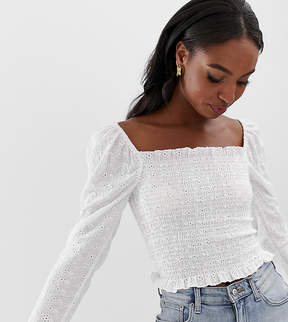 Square neck top in broderie with shirring