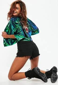 Missguided Black Sequin Tiger Jacket