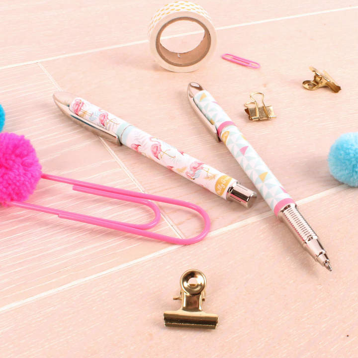 Milly Green Tropical Flamingo Set Of Two Rollerball Pens