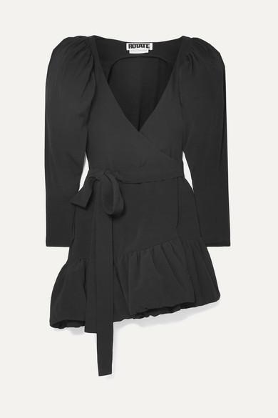 Rotate Birger Christensen ROTATE Birger Christensen - Asymmetric Crepe Wrap Mini Dress - Black